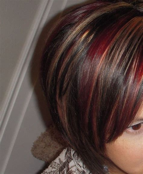 dark brown hair with caramel underneath on inverted bobs red and caramel highlights hair ideas pinterest