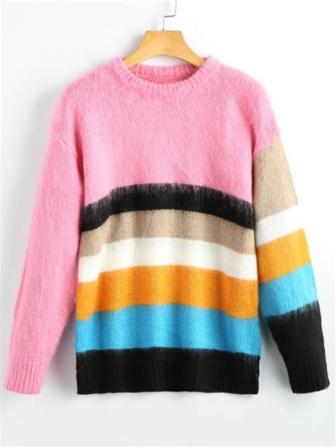 colorful sweaters 42 2019 fuzzy colorful striped pullover sweater in