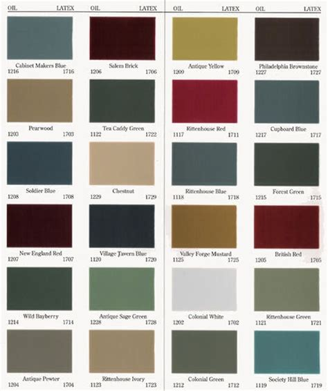 old village paint color chart