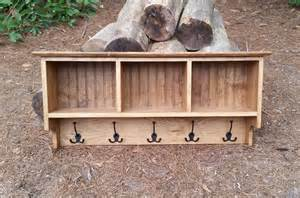 Entryway Bench And Hooks Rustic Coat Rack Cubby Shelf
