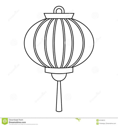 new year lantern colouring new year lantern icon outline style stock vector
