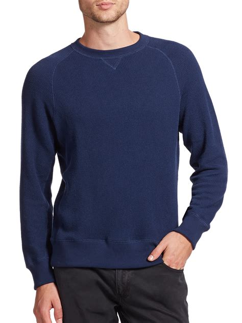 Blouse Waffle 1 billy fisher crewneck waffle knit shirt in blue for navy lyst