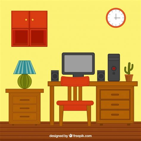 house interior vector house interior with wooden furniture and computer vector free download