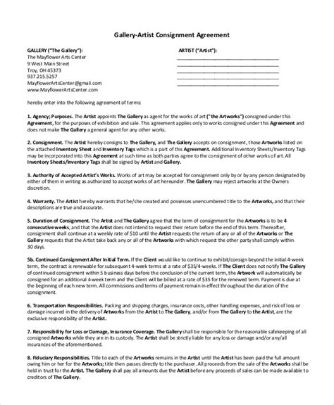 10 Sle Consignment Agreements Sle Templates Artist Consignment Agreement Template
