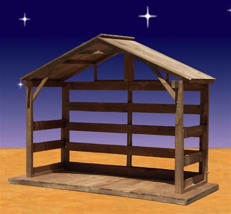 wood nativity stable outdoor  high