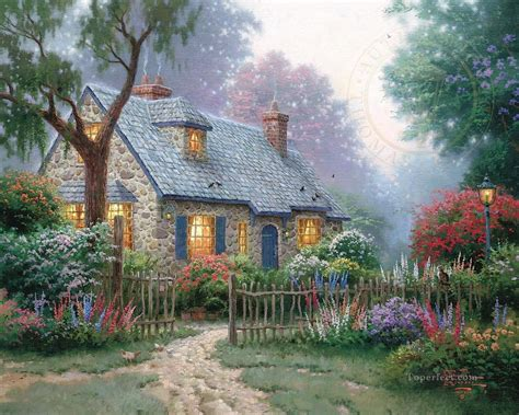 kinkade cottage paintings foxglove cottage kinkade painting in for sale