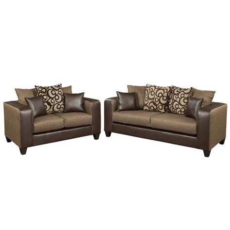 Chenille And Leather Sofa 2 Chenille Faux Leather Sofa Set In Brown Rs 4120 01ls Set Gg