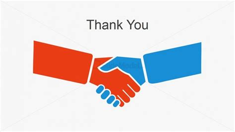 Simple Thank You Slide Hand Shaking Slidemodel Thank You Powerpoint Template