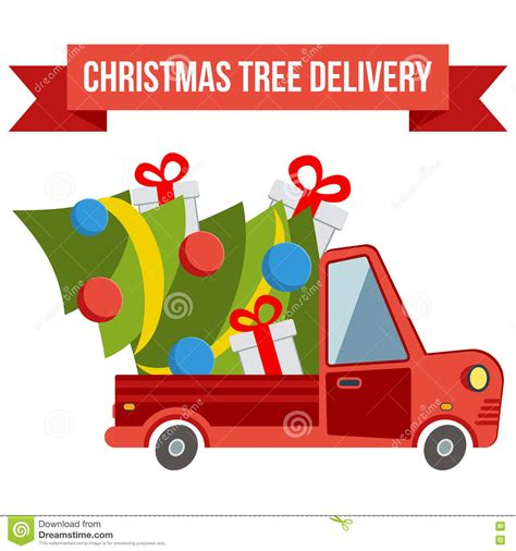 delivery flat transport truck van with xmas tree on white