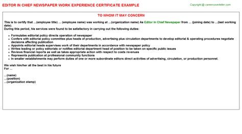 Experience Letter For Editor editor in chief newspaper work experience certificate