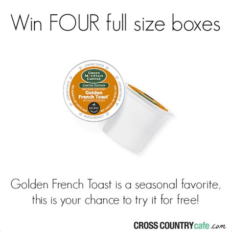K Cup Sweepstakes - golden french toast keurig k cup coffee sweepstakes mumblebee inc mumblebee inc