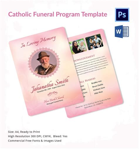 catholic funeral card template 5 catholic funeral template free word pdf psd