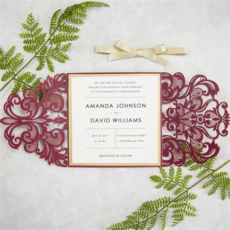 Wine And Gold Template Wedding Invitation Card Sle by Burgundy And Gold Laser Cut Wedding Invitations