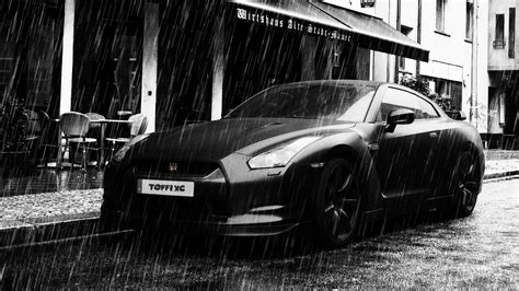 black nissan gt r in the rain wallpapers and images