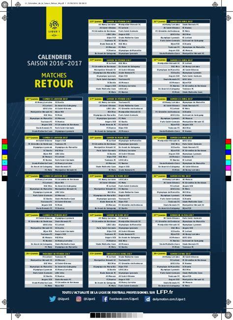 Calendrier Ligue 1 Lille Marseille Calendrier De Ligue 1 2016 2017