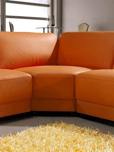 orange leather couch 3333 contemporary leather sectional sofa in orange color