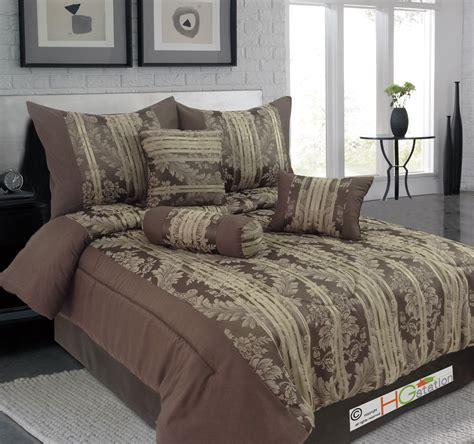 Chocolate Brown Comforter Set by 7p Jacquard Floral Damask Striped Comforter Set Chocolate