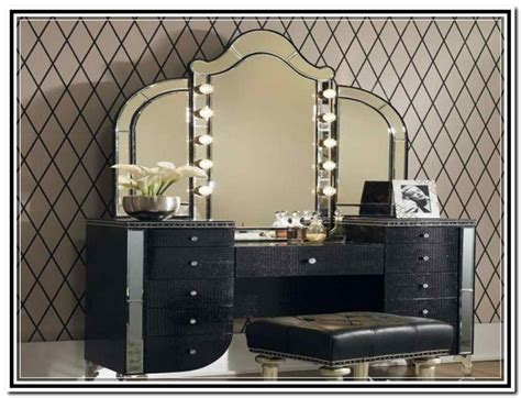 vanity with lighted mirror and bench best lighted makeup vanity mirror doherty house