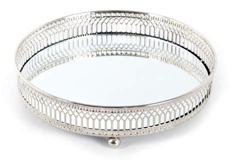 Silver Candle Tray Silver Effect Mirror Tealight Candle Tray Plate 20cm