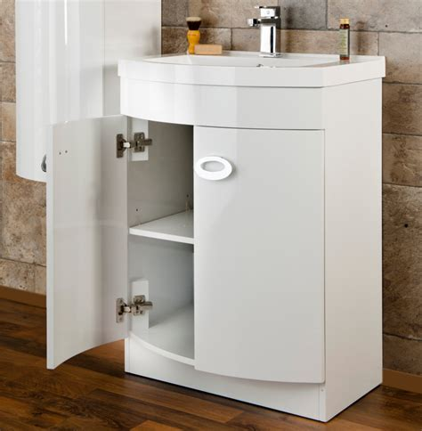 White Gloss Bathroom Vanity Unit by Cassellie D Shaped Gloss White Basin Vanity Unit 600mm