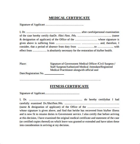 medical certificate 11 download free documents in pdf