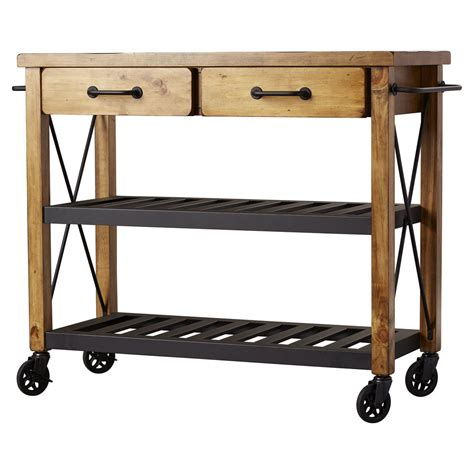 Kitchen Islands Portable kitchen cart stainless steel top rolling island rustic
