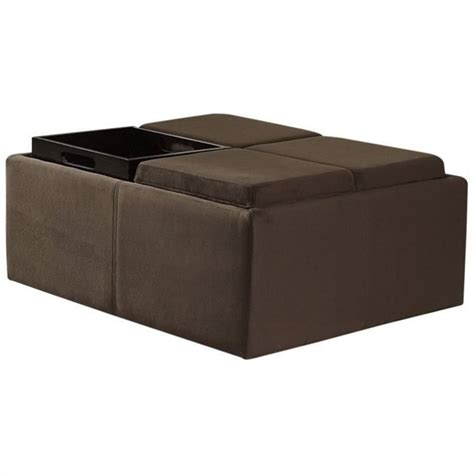Microfiber Ottoman Trent Home Cocktail Ottoman With 4 Tray Inserts In Mocha Microfiber 468mc