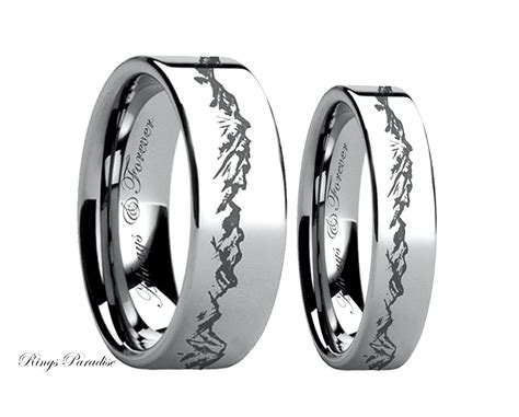unique wedding bands couples rings mountain rings tungsten