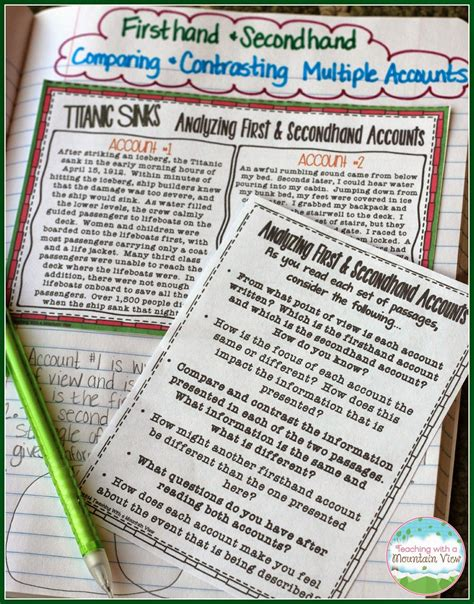 2nd Grade Report Card Template Corpus Christi by Analyzing Firsthand And Secondhand Accounts Anchor