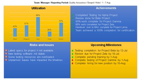 Project Status Report Template Free Downloads : 13 Samples