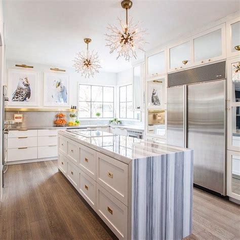 narrow kitchen design with island long narrow kitchen island bue striped marble waterfall