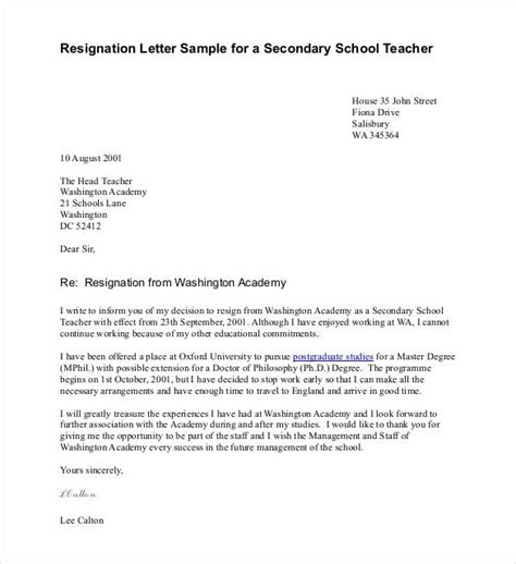 Resignation Letter Sle Because Of School Resignation Letter Template 14 Free Sle Exle Format Free Premium Templates