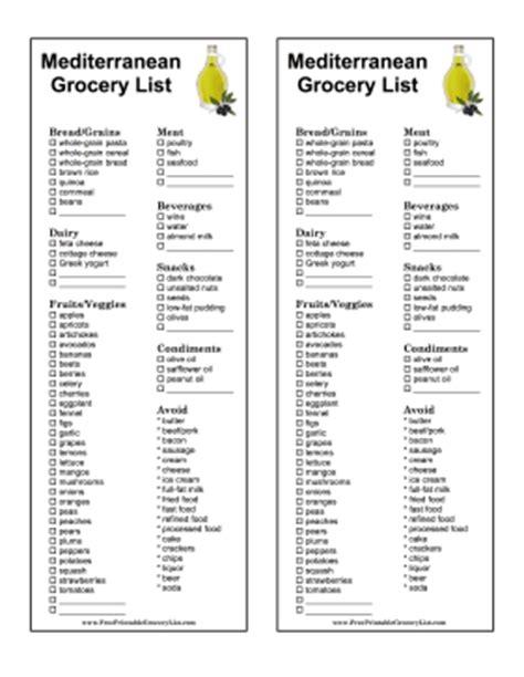 printable grocery list for seniors printable mediterranean grocery list