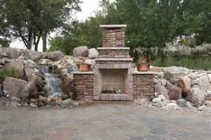 Backyard Pond Accessories Backyard Waterfalls And Fireplace Comforting A Patio