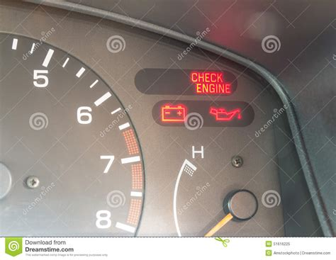 check engine light battery car dashboard warning lights symbols stock illustration