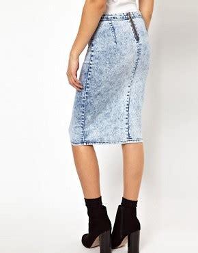 glamorous glamorous pencil skirt in acid wash denim at asos