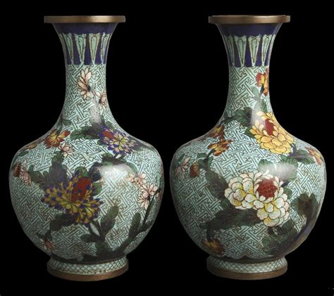 Vintage Vase by Pair Antique Cloisonne Floral Design Vases C