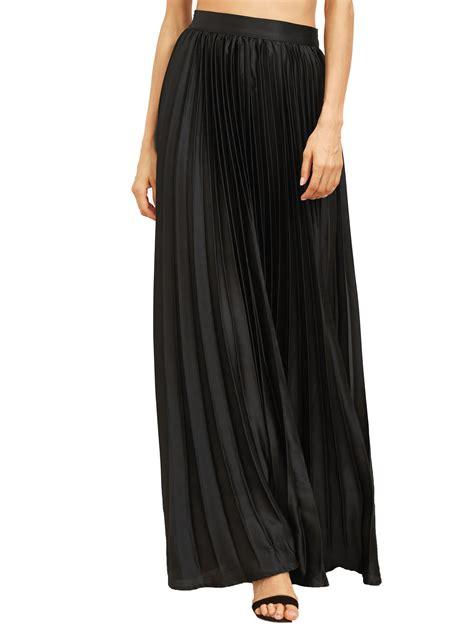 black zipper side pleated flare maxi skirt shein sheinside