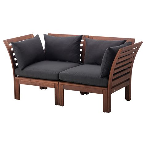 ikea outdoor sofa sg 196 pplar 214 2 seat sofa outdoor brown stained h 229 ll 246 black