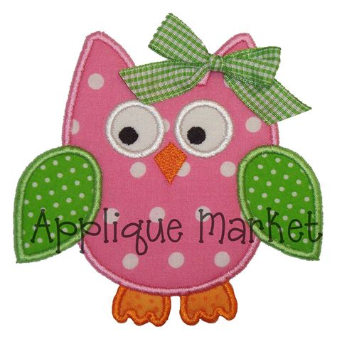 embroidery applique machine embroidery design applique owl 4 sizes instant