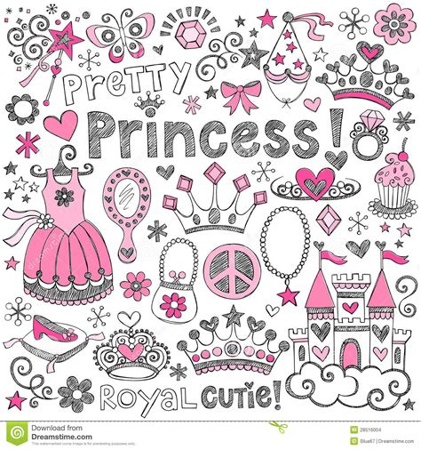 doodle name prince princess tiara royalty sketchy doodles vector set stock