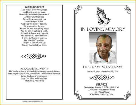 Free Funeral Brochure Templates by Funeral Brochure Template Word 4 Funeral Program Template