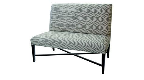 Patterned Upholstered Fabric Dining Bench With Back And Metal Base Decofurnish