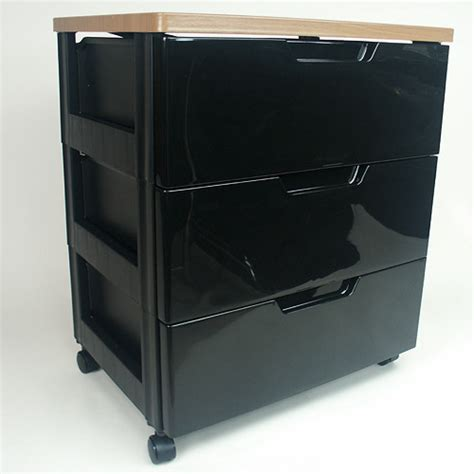 iris top three drawer storage chest black in