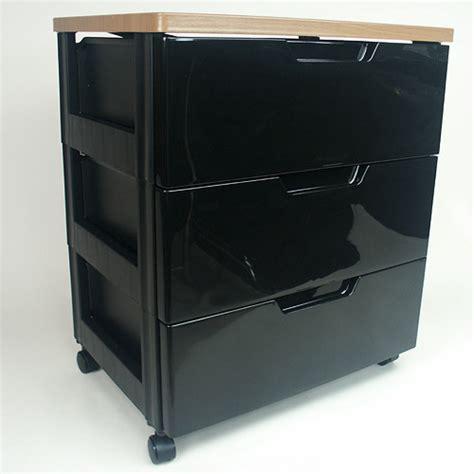 Black Storage Drawers Iris Top Three Drawer Storage Chest Black In