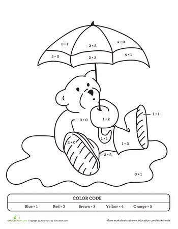 color by sum color by sum rainy day teddy worksheets number