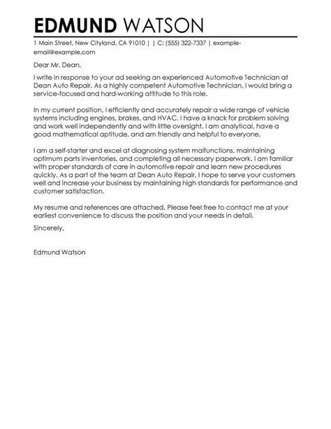 Email Cover Letter For Mechanic best automotive technician cover letter exles livecareer