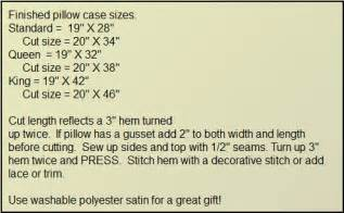 pillow sizes arts crafts