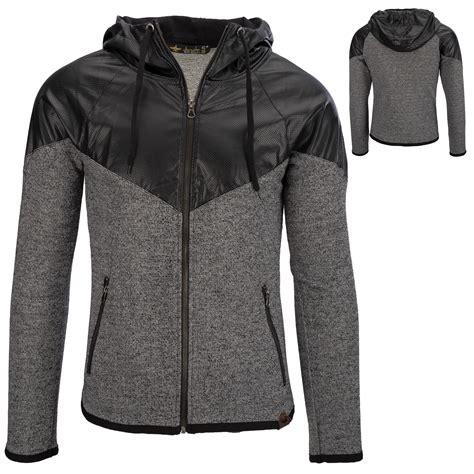 Jaket Zipper Or Die zip hoodie gray leatherette knitting sweatshirt pullover jacket ebay