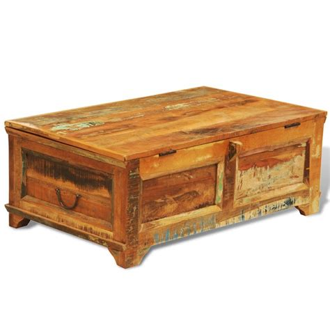 Coffee Table Boxes Reclaimed Wood Storage Box Coffee Table Vintage Antique Style Vidaxl